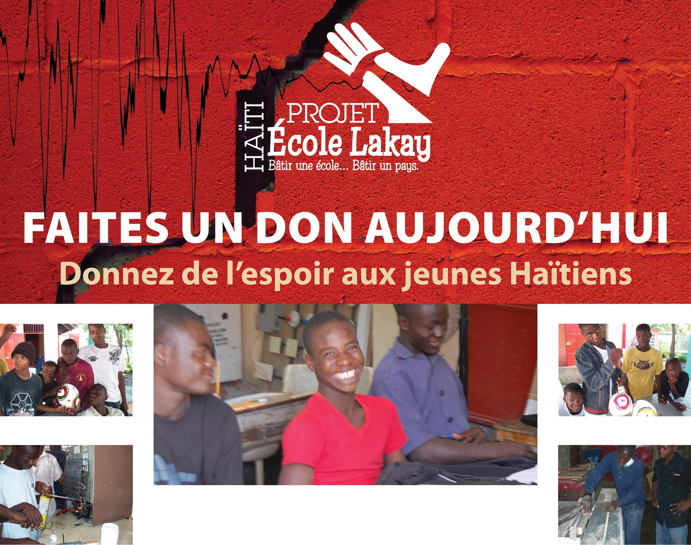 Faites un don aujourd'hui, donnez de l'espoir aux jeunes Haitiens